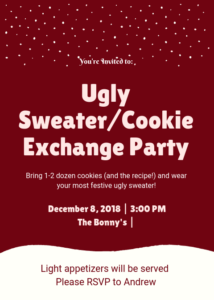 ugly sweater christmas cookie exchange party
