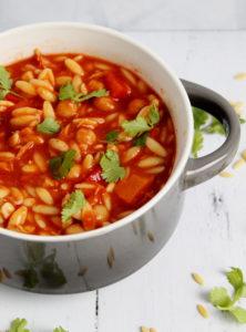 Instant Pot Chicken Taco Orzo Soup #instantpot #pressurecooker #instantpotrecipe #chickentacos #soup #yum