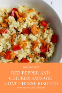 Instant Pot Red Pepper and Chicken Sausage Goat Cheese Risotto #instantpot #pressurecooker #30minutemeal #goatcheese #foodblog #quickrisotto #fancymeal #easydinner