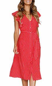 MITILLY Women's Summer Boho Polka Dot Sleeveless V Neck Swing Midi Dress with Pockets