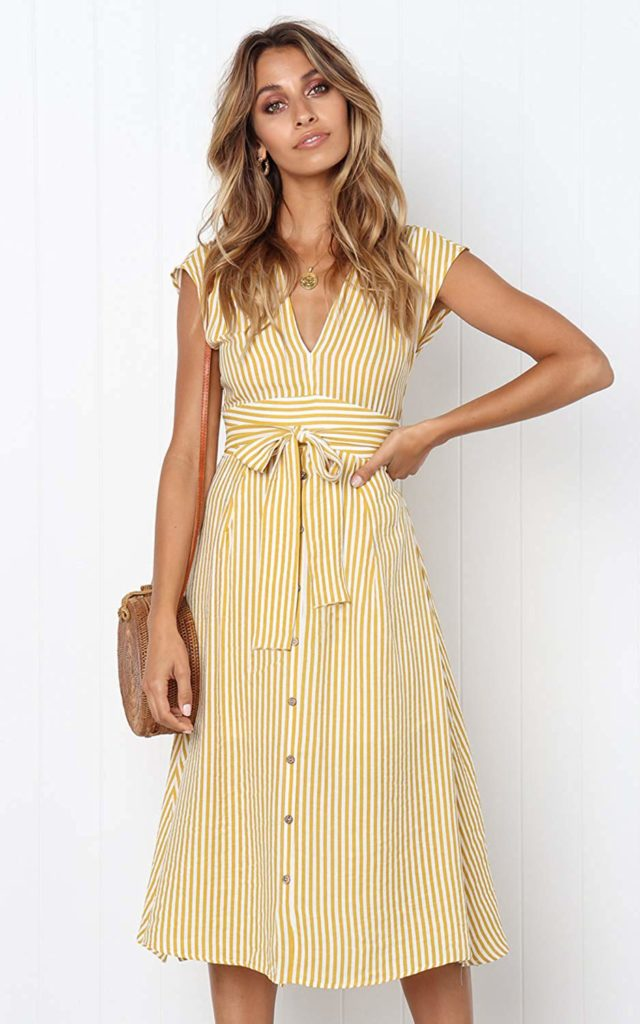 PRETTYGARDEN Women's V Neck Striped Bow Tie Waist Sleeveless Button Down Swing A Line Midi Dress