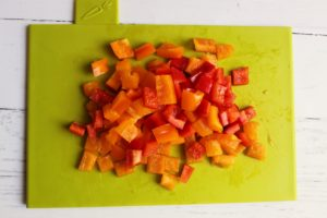 cut peppers for corn salad