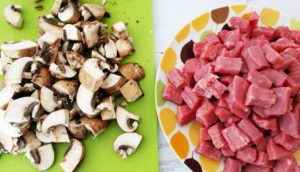 meat and mushrooms beef stroganoff