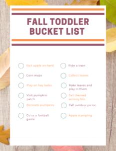 fall toddler bucket list png printable