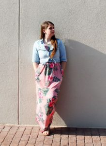 pinkblush floral maxi womens clothing against wall