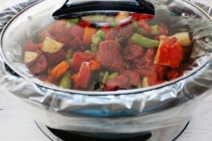 slow cooker summer beef stew before cooking