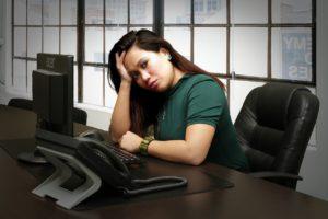 anxious mom at work