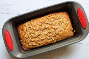 baked apple cinnamon cream cheese bread in loaf pan 1