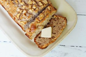 closeup of apple bread with butter 1