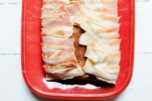 bacon wrapped around pork loin 1