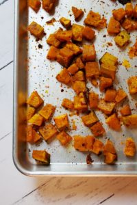 long view of roasted buttercup squash on pan 1