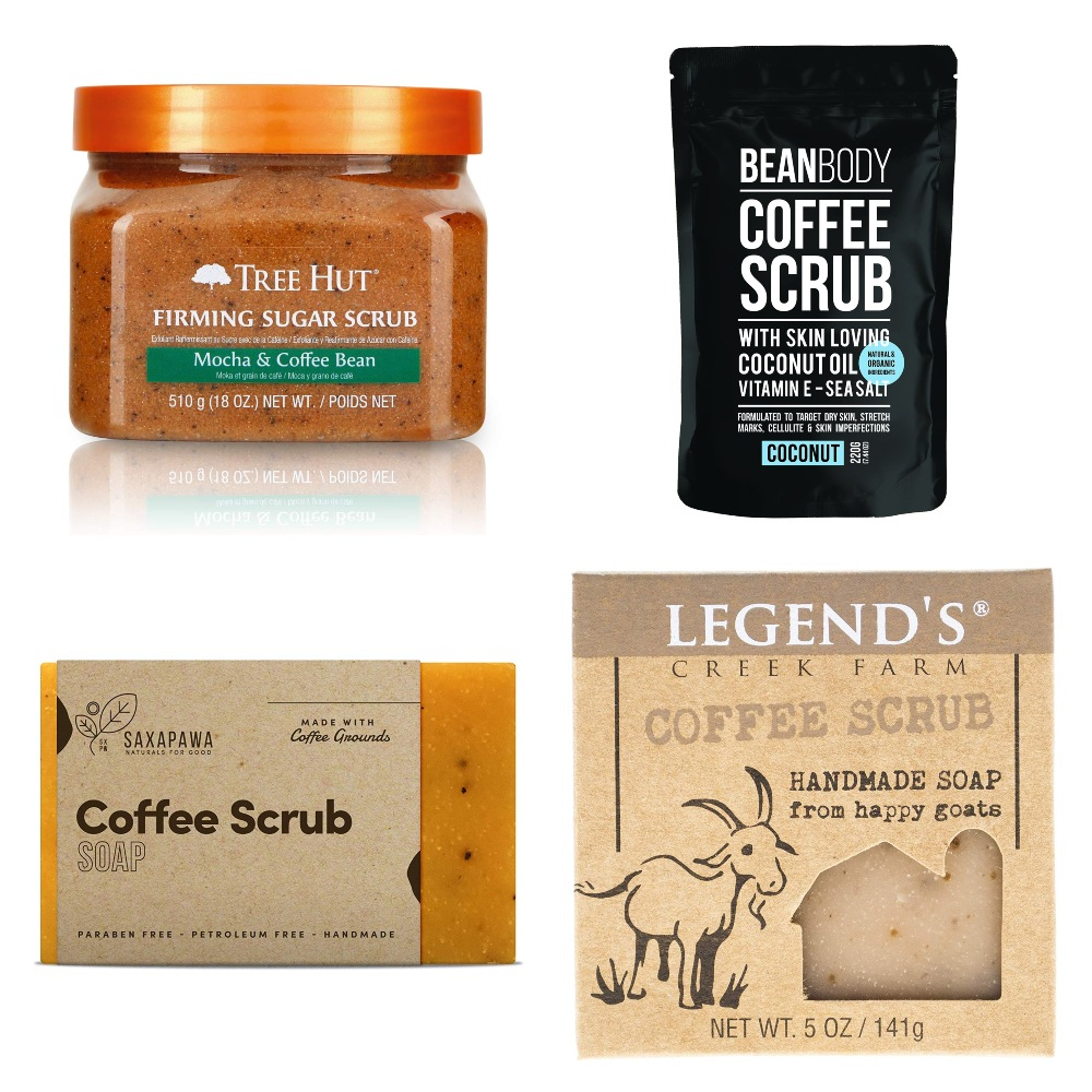 Collage of coffee beauty and bath products for Coffee Lovers Gift Guide