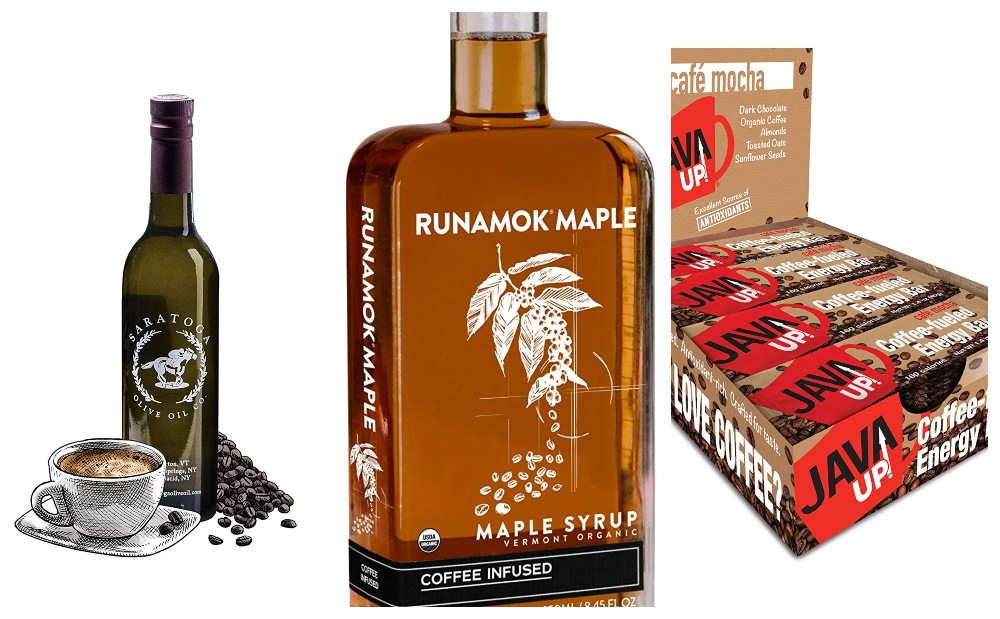 Collage of coffee food finds for Coffee Lovers Gift Guide