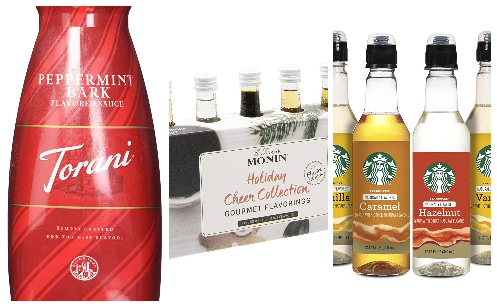 Collage of sauces and syrups for Coffee Lovers Gift Guide