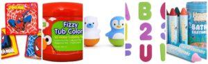 Collage of toddler bath stocking stuffer ideas 2