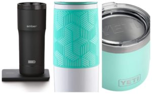 Collage of travel Mugs Coffee Lovers Gift Guide