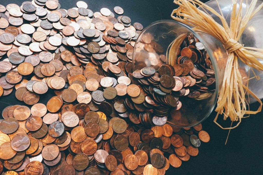 coins for saving and budget