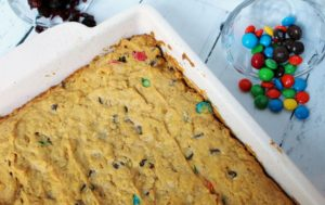 trail mix cookie bars in pan 1