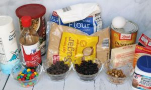 trail mix cookie bars with pumpkin and cranberry ingredients 1