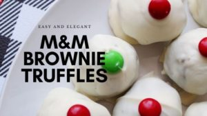 m and m brownie truffles blog banner