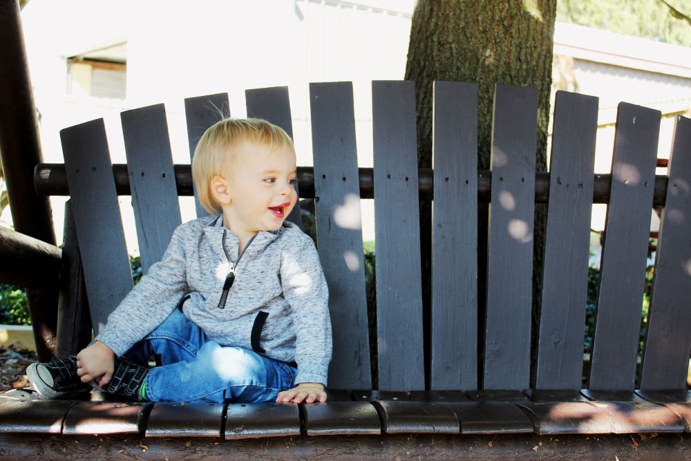 Camden on bench 21 months