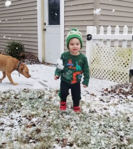 Camden playing in snow