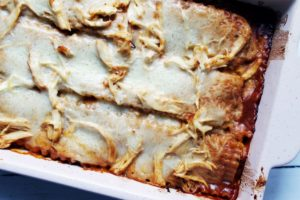 closeup of pan of bbq chicken alfredo lasagna 1