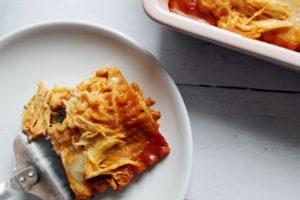 plate and spatula with bbq chicken alfredo lasagna 1