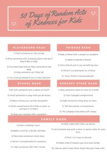30 random acts of kindness ideas for kids ideas
