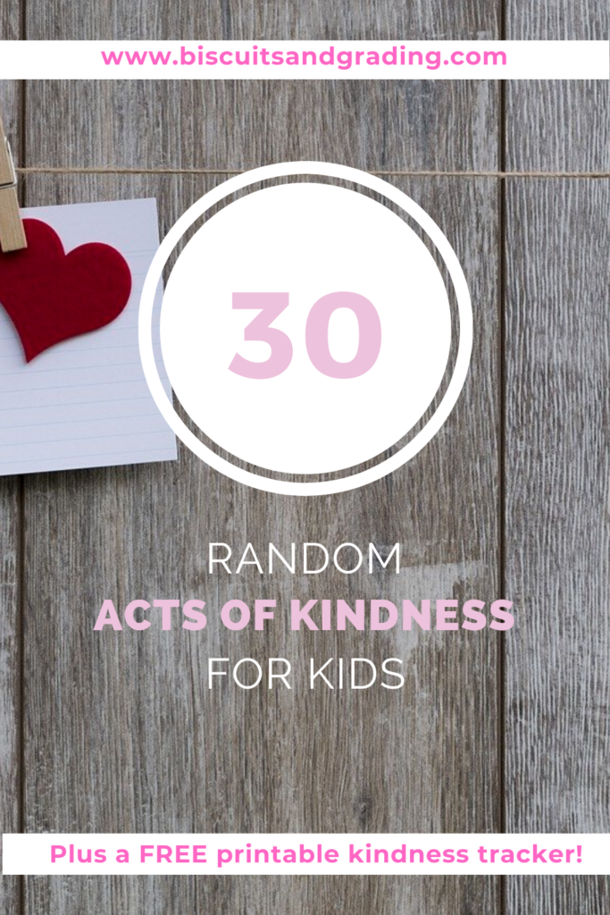 pinterest image for 30 random acts of kindness for kids