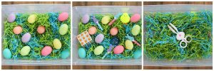 hiding eggs for easter sensory bin