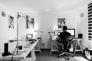 husband working from home for social distancing