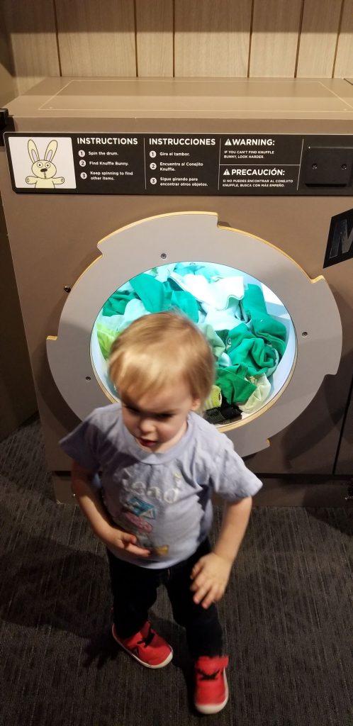 knufflebunny washing machine at pigeon and pals exhibit