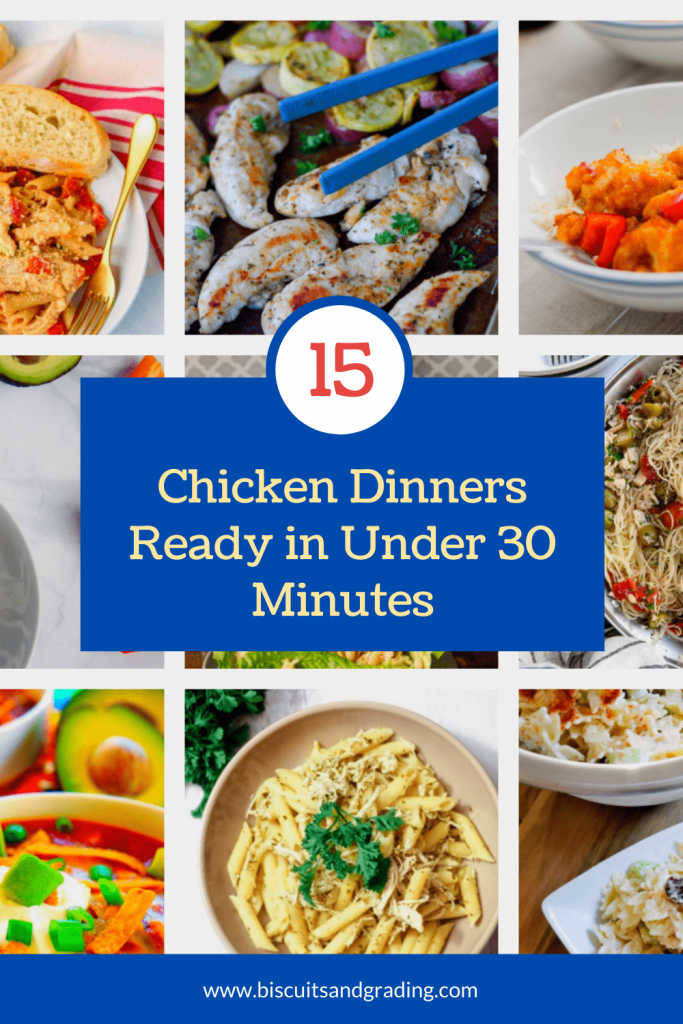 pinterest image for 15 chicken dinners in under 30 minutes-min