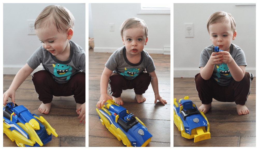 toddler playing with paw patrol chase mighty transformer car collage-min