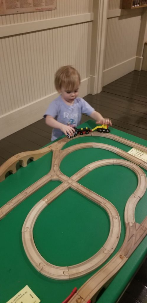 train table at children's museum