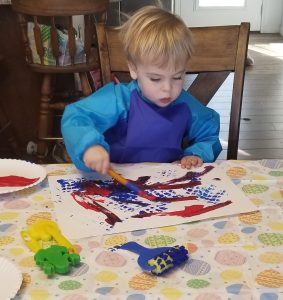 toddler painting quarantine check in