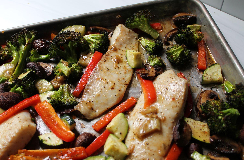 roasted sheet pan lemon garlic fish and vegetables 1