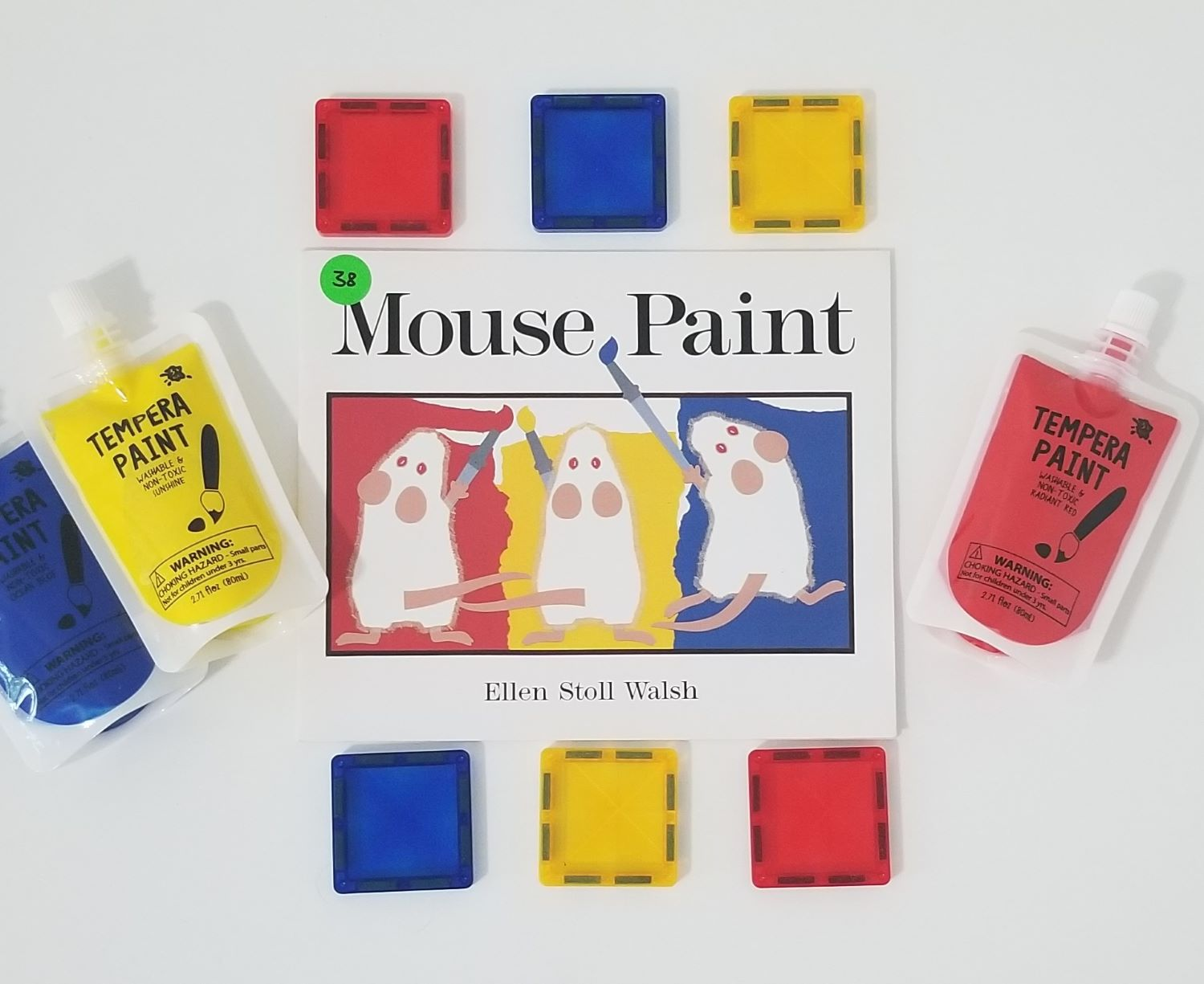 mouse paint color mixing activity flatlay