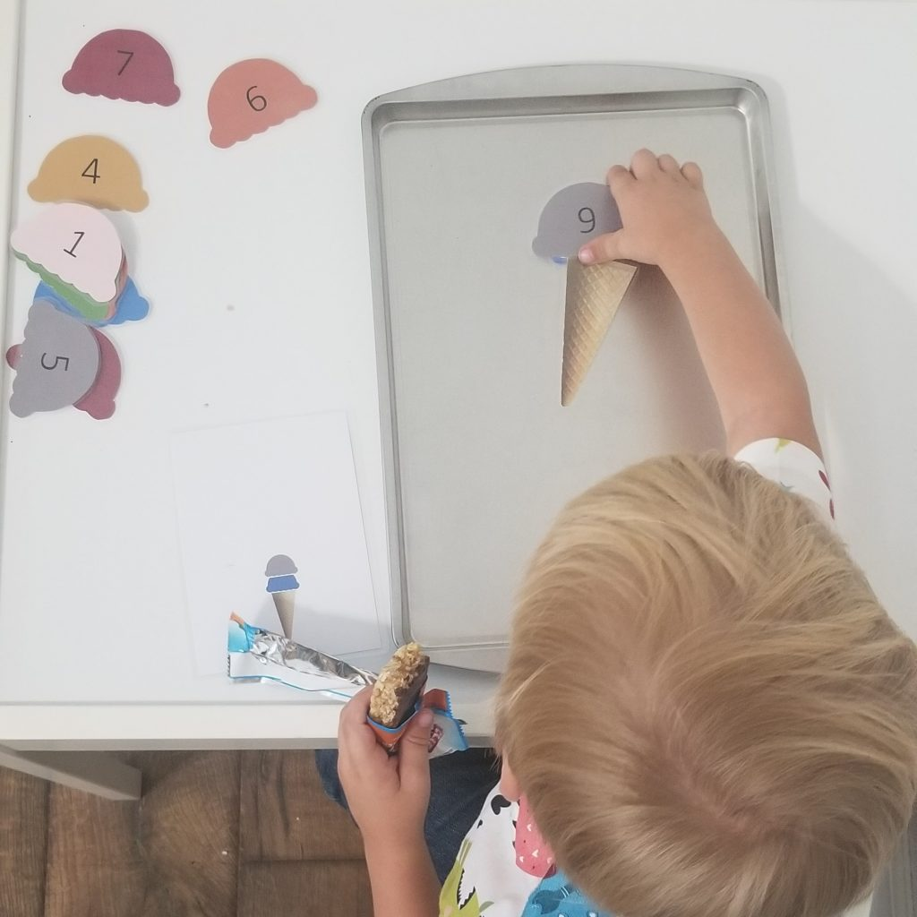 preschool activity boy playing ice cream counting magnet board