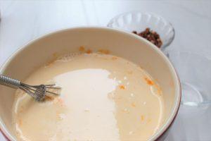 mix evaporated milk into crustless pumpkin pie 1