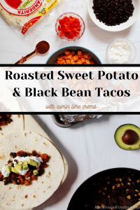 roasted sweet potato and black bean tacos with cumin lime crema
