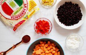sweet potato tacos ingredients flatlay 1