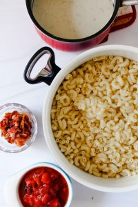 vertical view of smoked gouda white cheddar macaroni and cheese 1