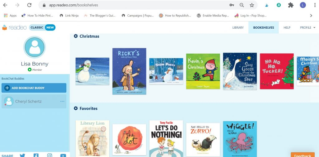 library bookshelves within readeo reading app for kids