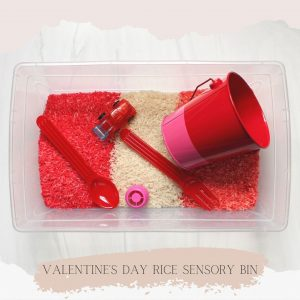 featured image valentine's day rice sensory bin