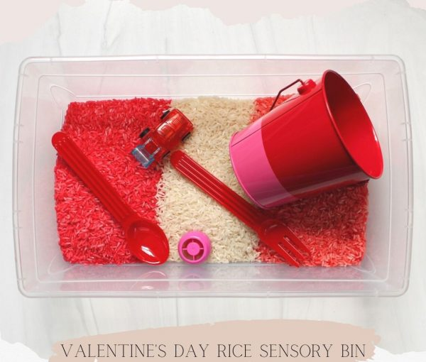 Valentine's Day Rice Sensory Bin for Toddlers and Kids