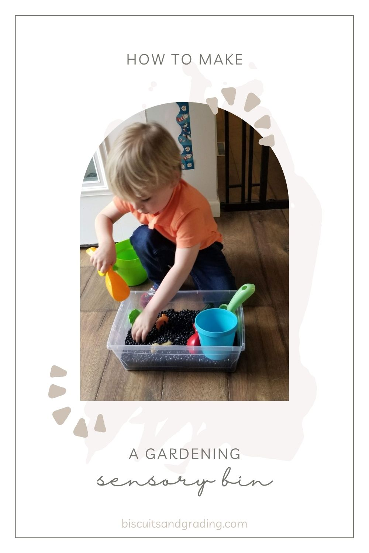 garden sensory bin pinterest image